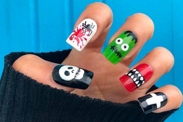 Uñas para Halloween monstruos